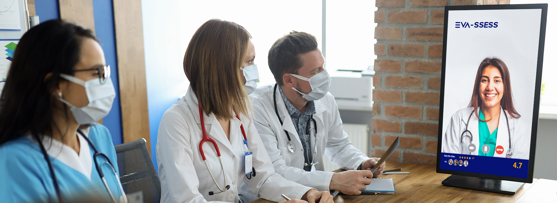 A picture of doctors conducting an automated video assessment