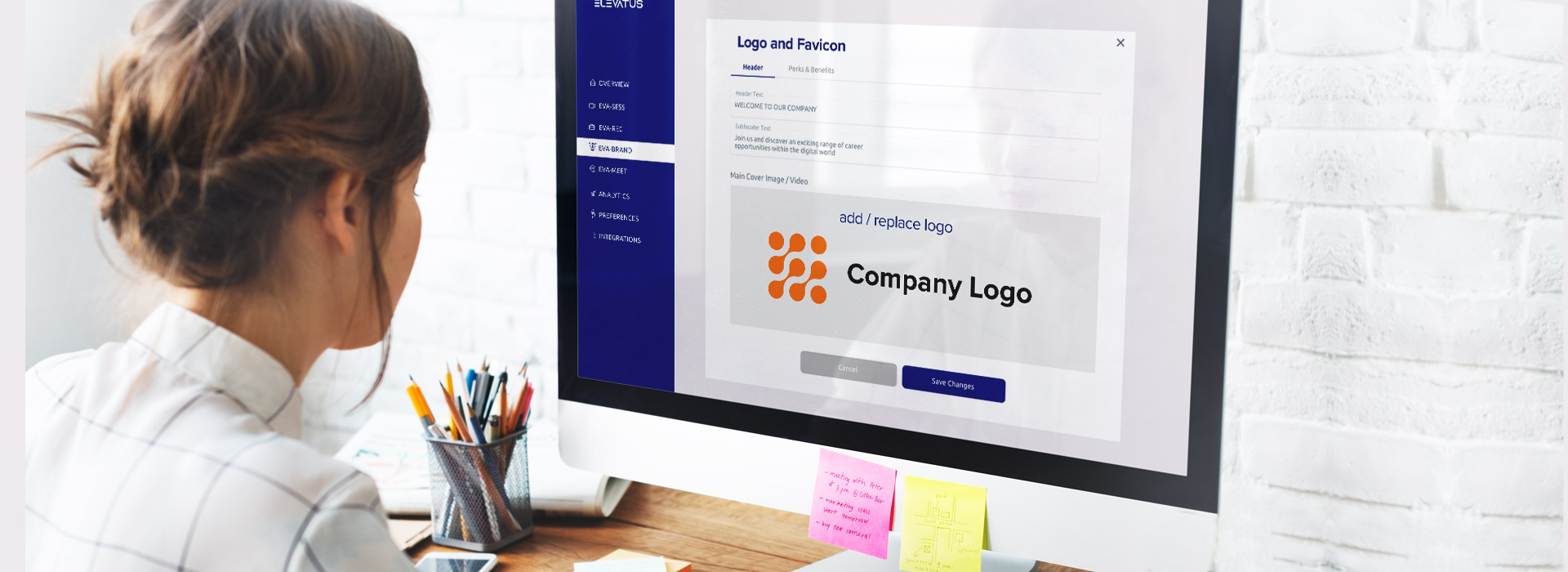 A picture of employee creating a branded career page