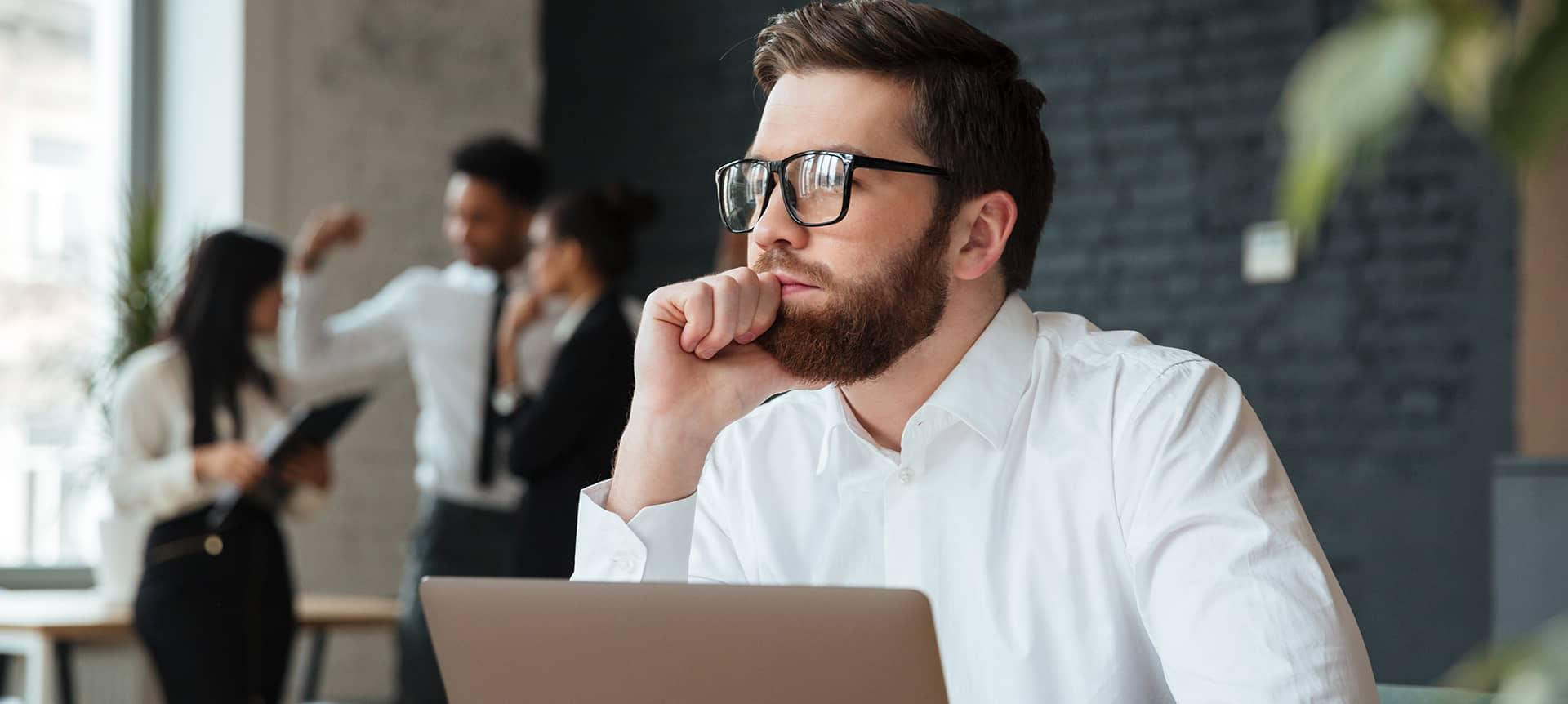 A male recruiter using a hiring platform
