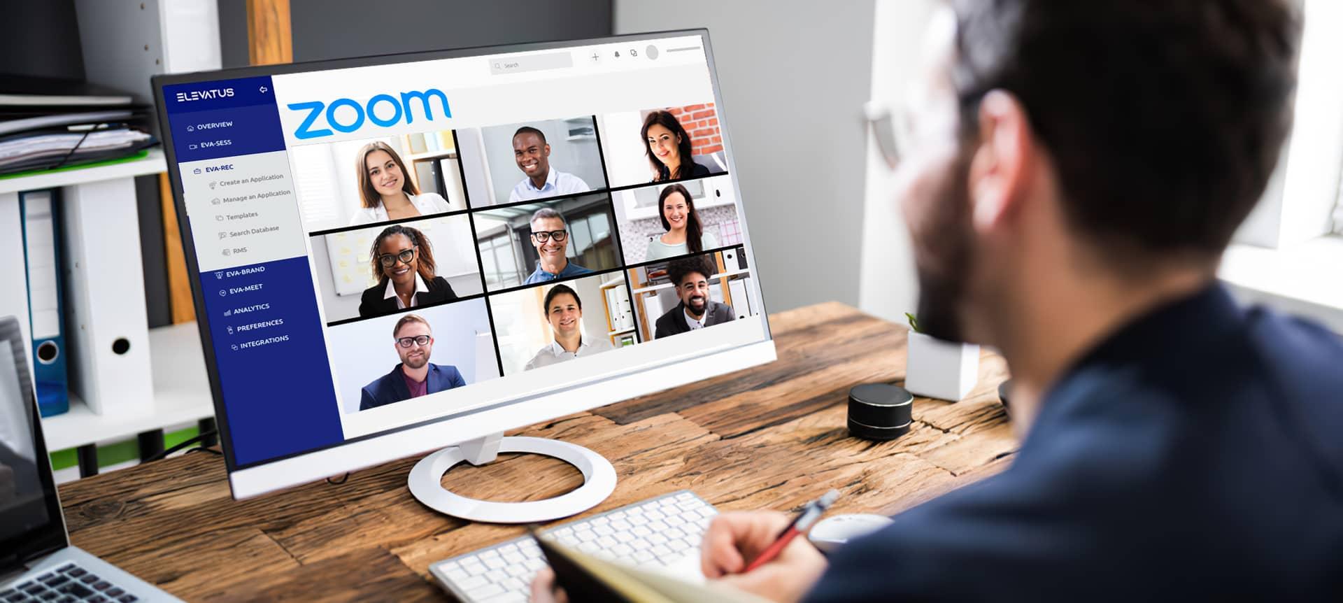 A recruiter using video interviewing software