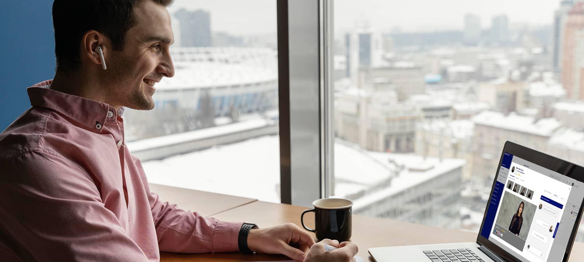 A recruiter using recruitment software