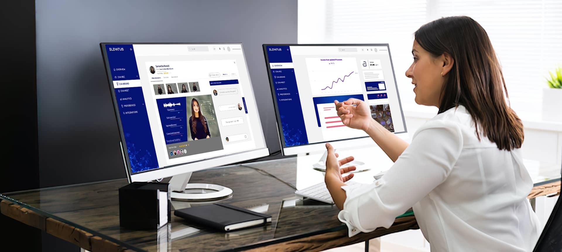 A female recruiter using a hiring platform