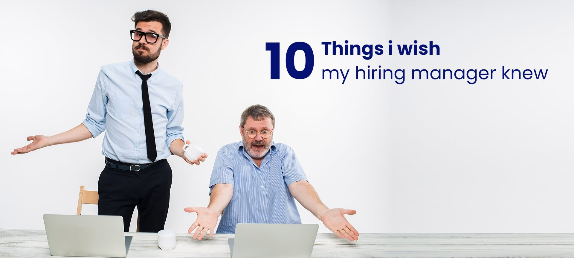 A recruiter and talent acquisition manager who appear to be struggling with their work