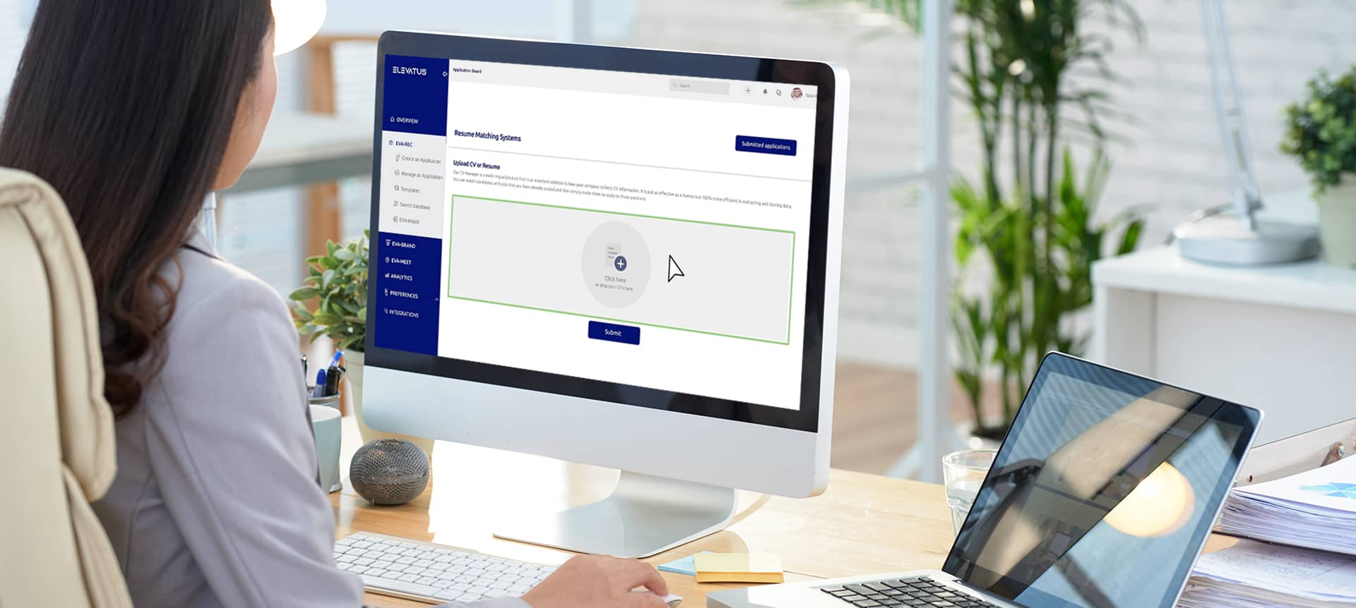 A talent acquisition specialist using the hiring platform EVA-REC