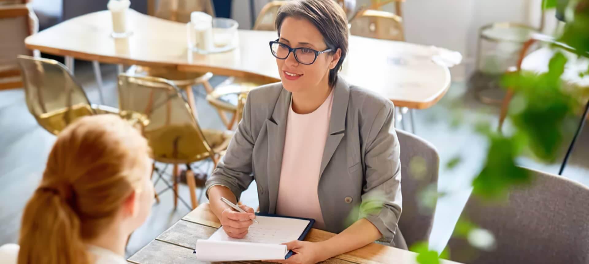 A female recruiter interviewing a female candidate