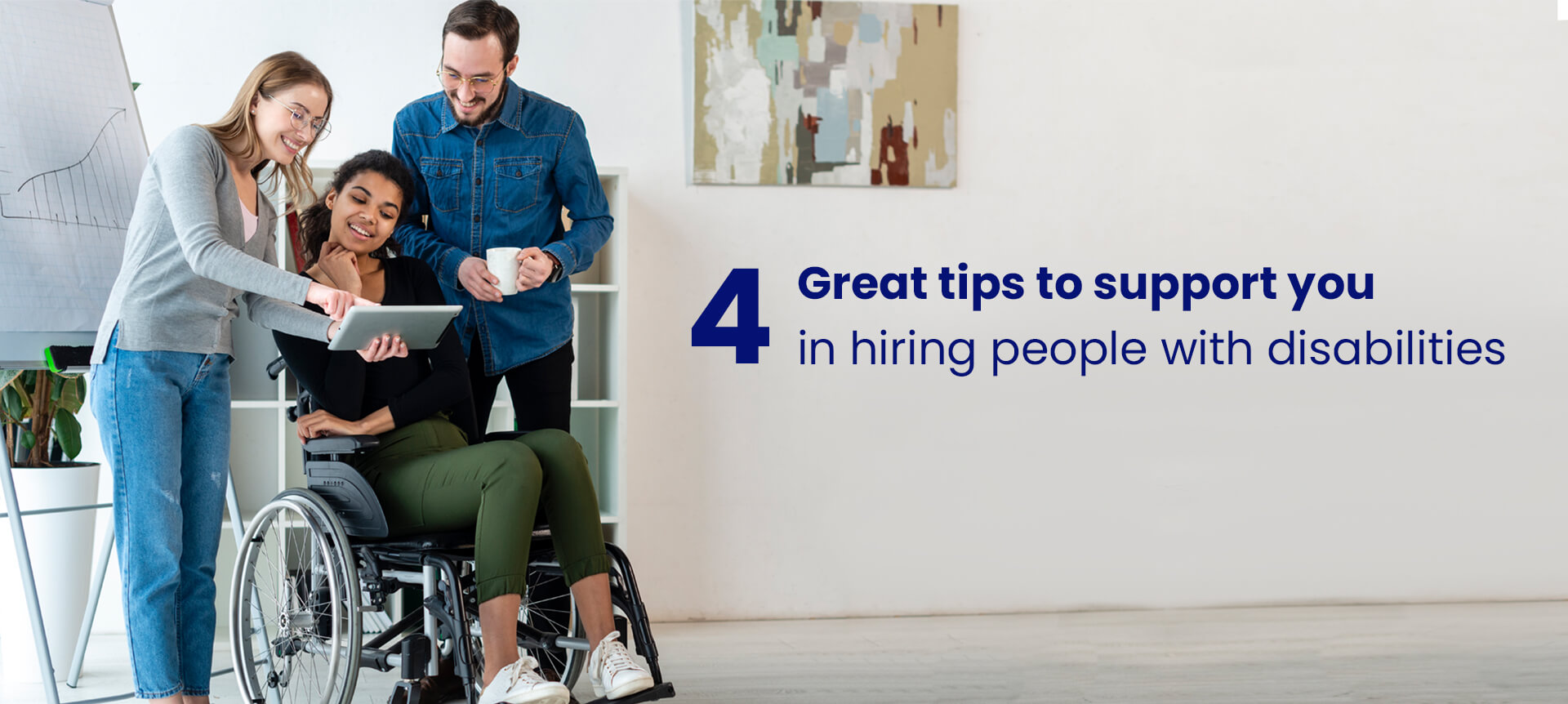 A picture of a talent acquisition team hiring and helping out a candidate with a disability