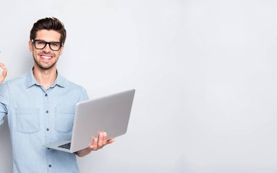A male recruiter using a video interviewing software to make the assessment process easier