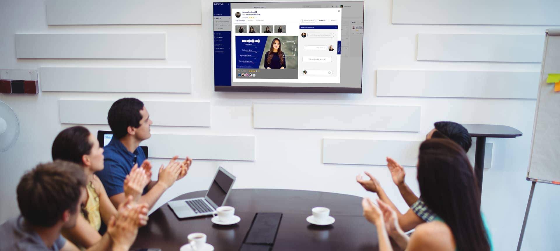 A group of employees using a video interviewing software