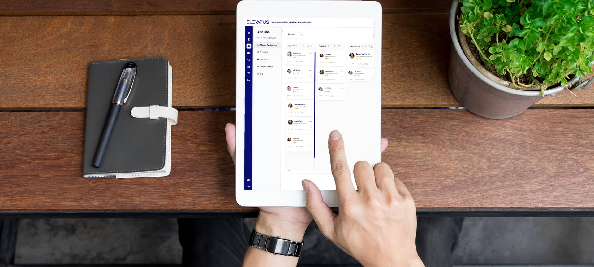 Recruitment software being used on an iPad