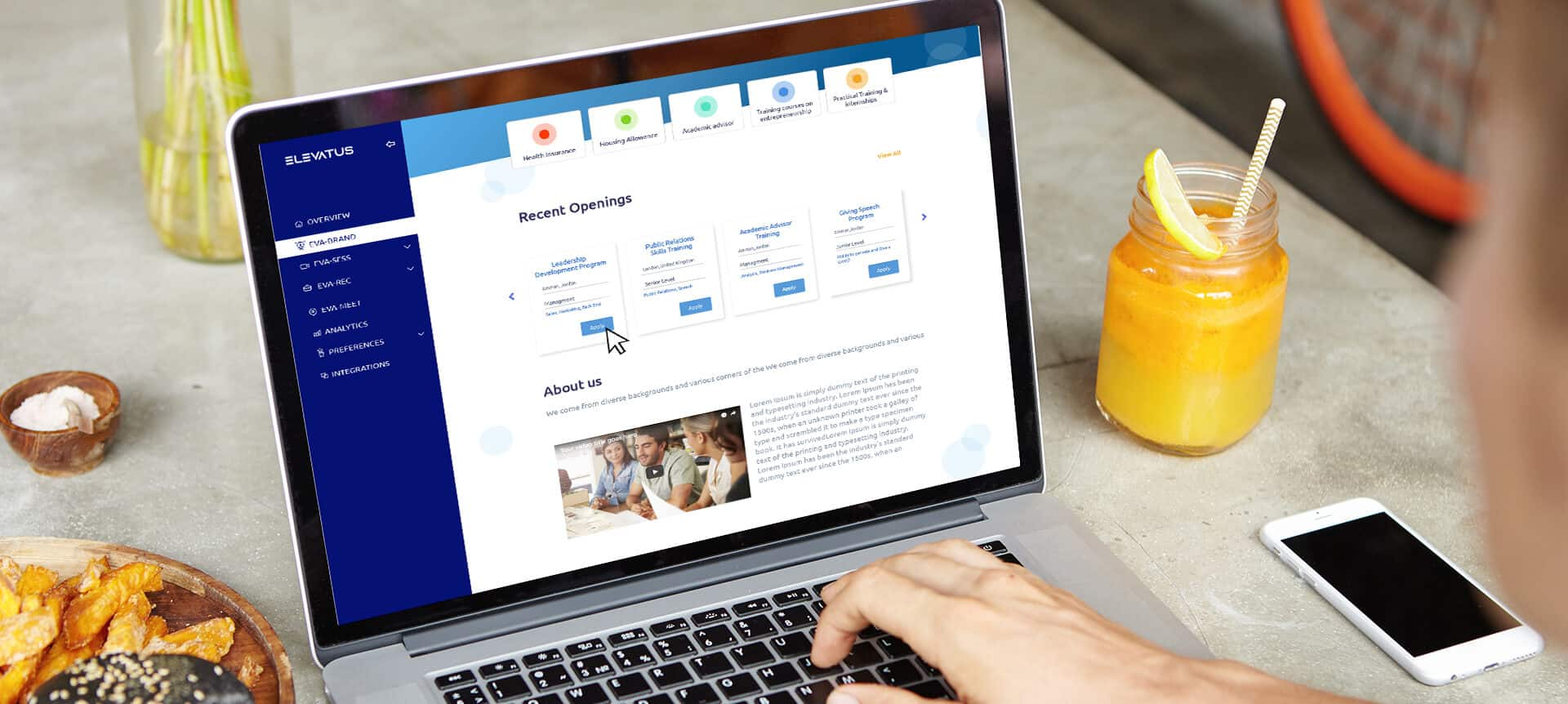 laptop showing recruitment software