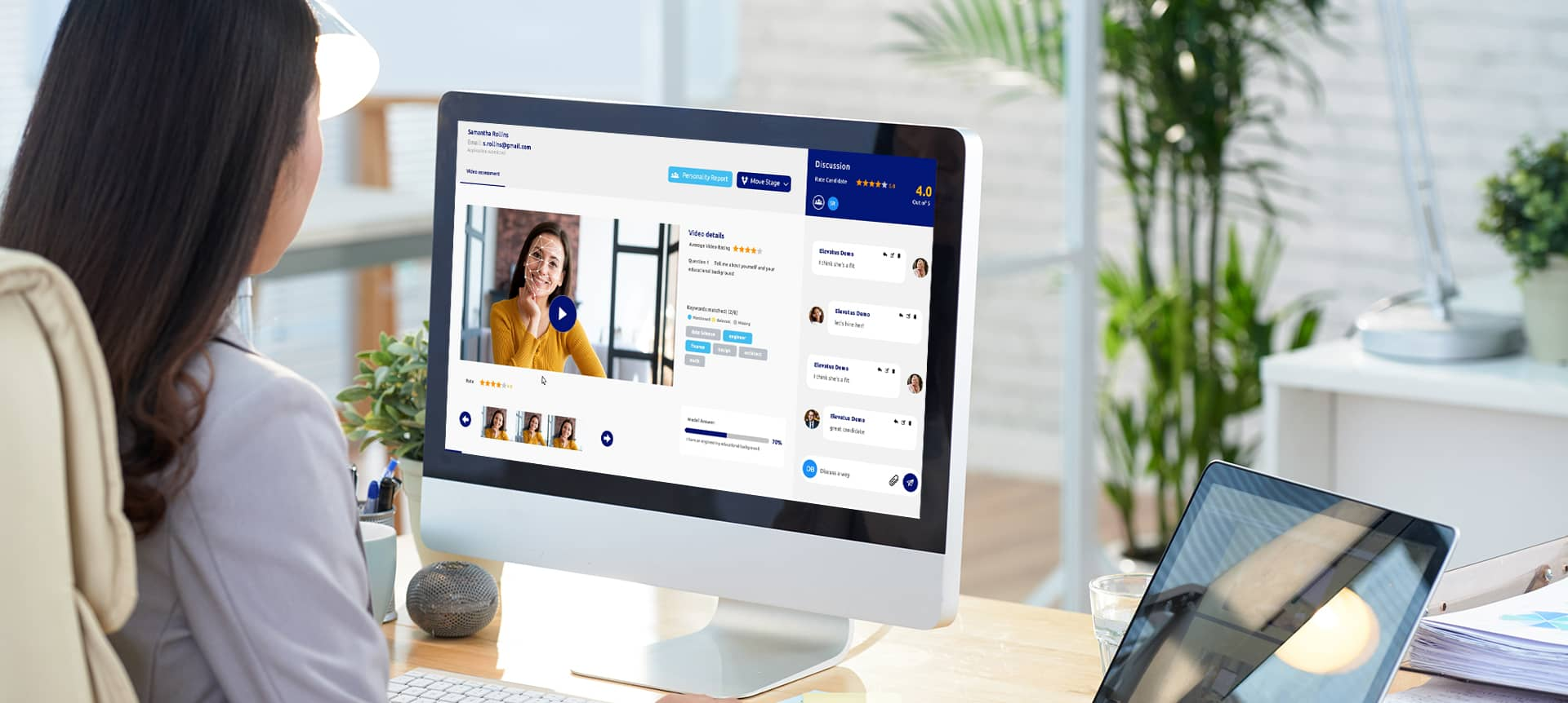 A recruiter using a video interviewing software