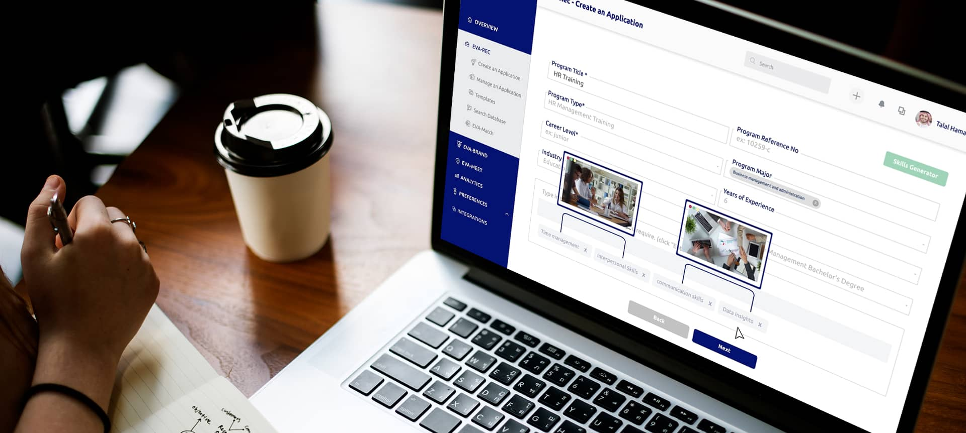laptop showing hiring platform