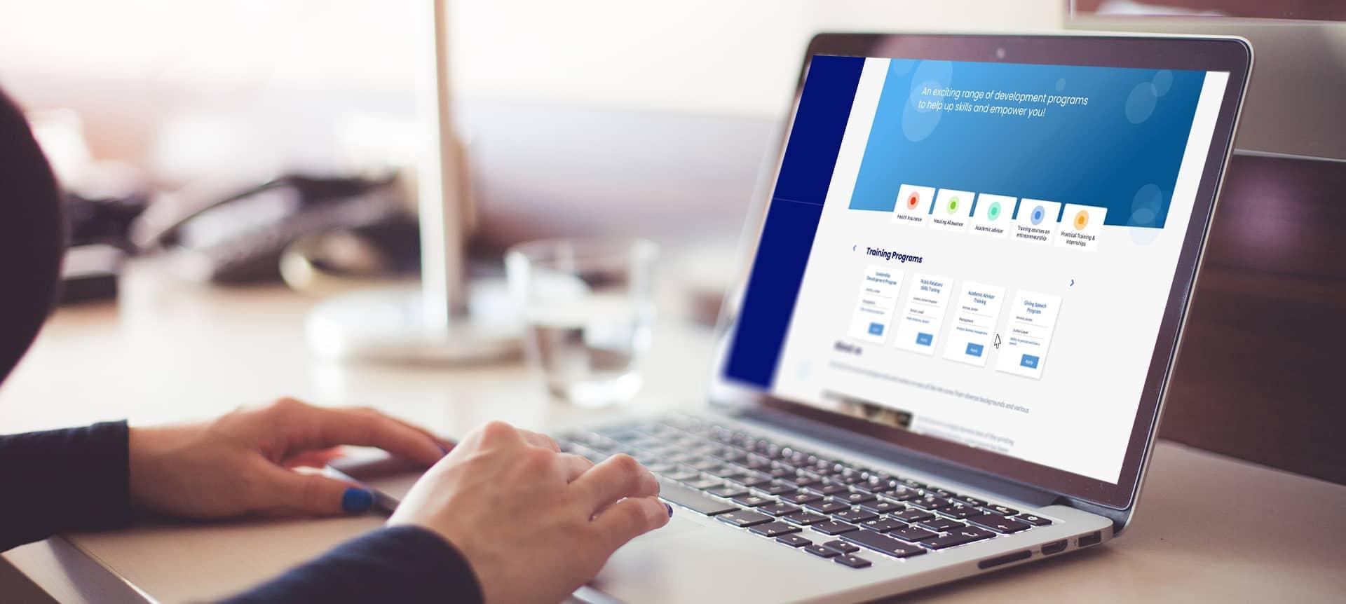 Laptop showing a hiring platform
