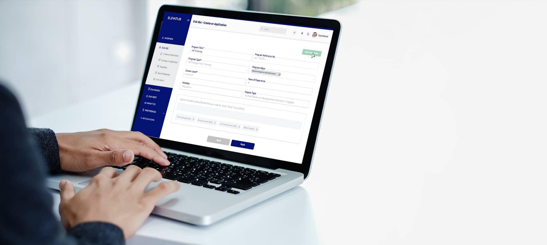 Laptop showing virtual hiring software
