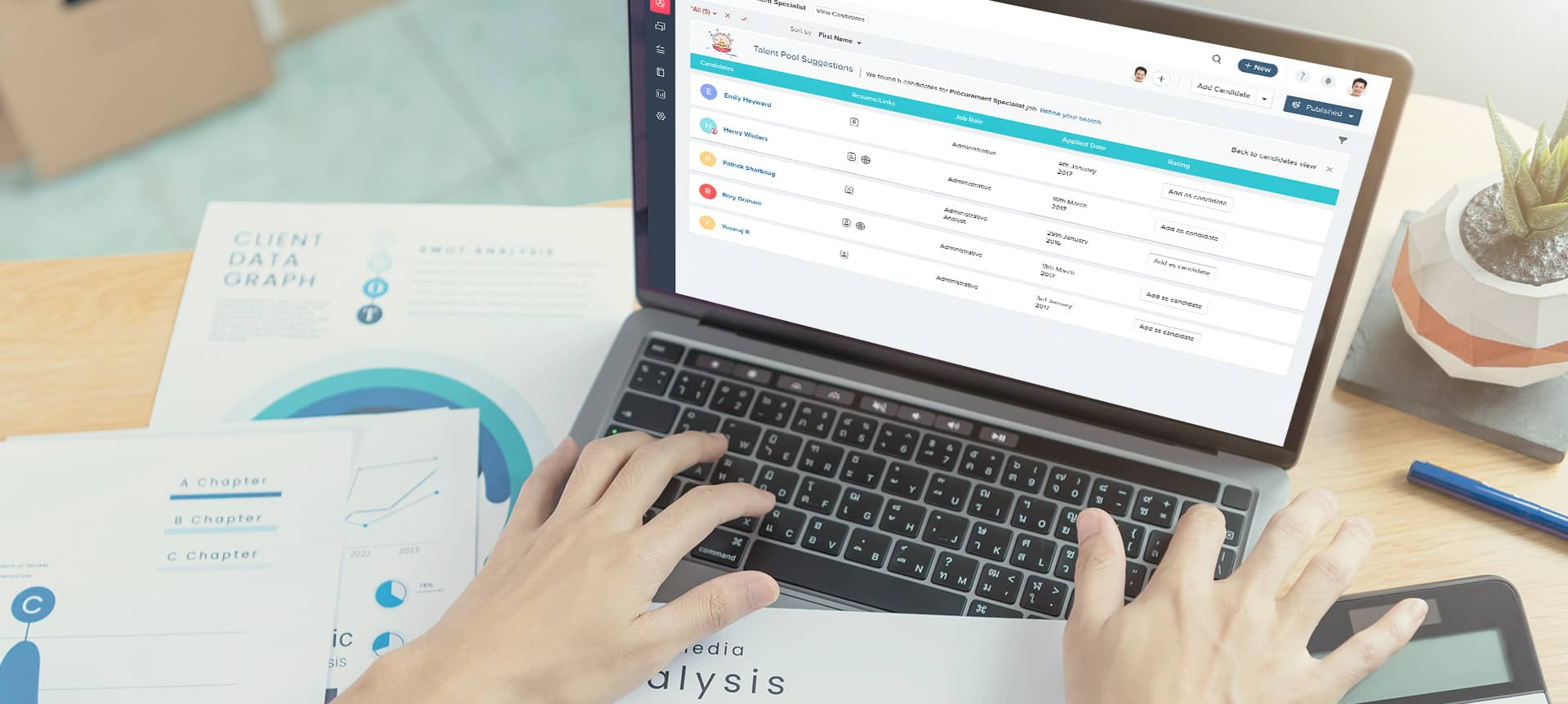 laptop showing an applicant tracking system