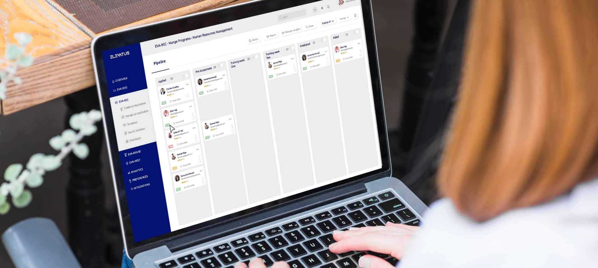 A recruiter using a hiring platform