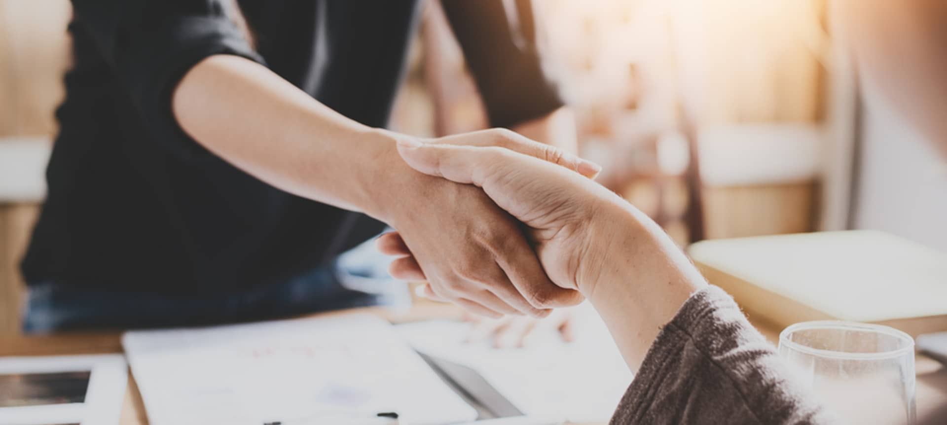 recruiter and candidate shaking hands